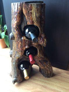 Wine rack in Twisted Burl Log by AspenBottleHolders on Etsy
