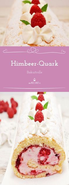 Leckere Himbeer-Quark-Rolle mit fluffigem Biskuit :-) Sweet Recipes, Cake Recipes, Good Food, Yummy Food, Gateaux Cake, Easy Cake Decorating, World Recipes, Creative Cakes, Fun Desserts