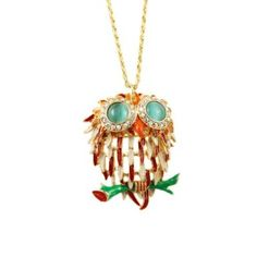 Cute Delicate Rhinestone and Opal Inlaid Owl Pendant Necklace