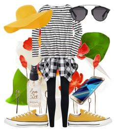 """Striped"" by kayquarter on Polyvore featuring J.Crew, Converse, Olivine, Christian Dior, Accessorize, Samsung and stripedshirt"