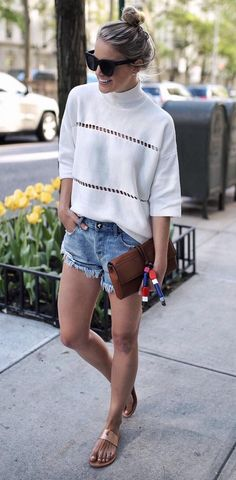 45 Modern Fall Fashion: Casual Outfit Ideas To Try Right Now Trendy Summer Outfits, Casual Fall Outfits, Short Outfits, Outfit Summer, Summer Clothes, Daily Fashion, Spring Summer Fashion, Autumn Fashion, Look Kylie Jenner