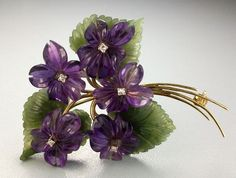 """Bouquet Of Violets"" Amethyst, Diamond And 14k Gold Brooch - Vienna, Austria  c.1940-1950"