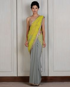 Lime & Grey Half & Half Sari- Buy Saris,New Arrivals Online | manishmalhotra.in