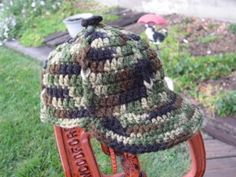 Camo baby ball cap - Crochet Me w/ link to free pattern.   I have made several of these. Easy pattern and cute hats.
