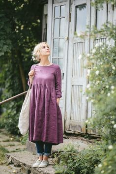Smock Dress Plum Dress Bridesmaid Dress Plus Size Dress Trendy Dresses, Modest Dresses, Modest Outfits, Modest Fashion, Women's Fashion Dresses, Casual Dresses, Gothic Fashion, Smocked Dresses, Linen Dresses