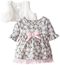 Youngland Baby Girls' 2 Piece Brushed Knit Floral Printed Dress >> Can't believe it's available, see it now : Baby clothes