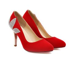 New Arrival Stars Women Wedding Shoes Suede Leather Sexy Pointed Toes Red/Black Rhinestones Bridal Shoes Size 34-39 6177