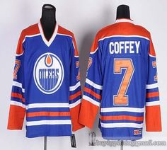 2064a8de4 Oilers  7 Paul Coffey Light Blue CCM Throwback Embroidered NHL Jersey Ice Hockey  Jersey