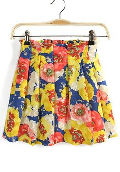 Yellow Floral Elastic Mid Waist Cotton Blend Skirt
