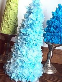 Tissue paper trees - could also make out of cupcake liners!