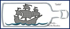 Black Pearl Ship in a Bottle from Pirates of the Caribbean Sketch Digital Embroidery Machine Design File 4x4 5x7 6x10