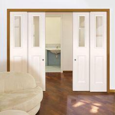 Deanta Quad Telescopic Pocket Rochester Clear Glazed White Primed Doors.  #pocketdoors  #whiteslidingdoors  #telescopicdoors  #interiordoors