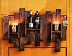 Rustic Art Style Pallet Wall Hanging Bar with Lights - 20 Pallet Ideas You Can DIY for Your Home | 99 Pallets