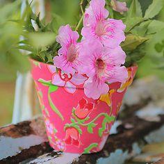 Cachepô Poppellina Floral rosa