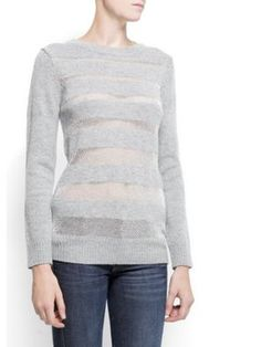 Mango Merino wool lurex jumper Gunmetal - House of Fraser