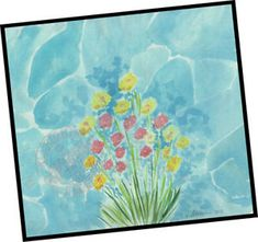 A walk by the Sea w flowers = Signed ART PRINT = Cathy Peterson  = SEASCAPE