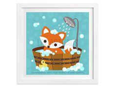 272 Bath Print  Fox in Bubble Bath Wall Art  Fox by leearthaus