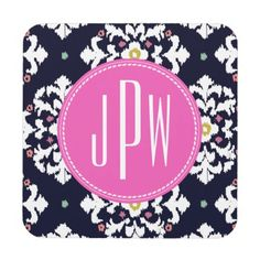 Ikat & Pink Monogram Beverage Coasters by Jill's Paperie