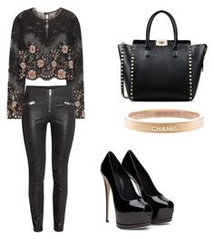 """Untitled #748"" by giselaturca on Polyvore featuring Alessandra Rich, Chanel, Valentino, women's clothing, women, female, woman, misses and juniors"