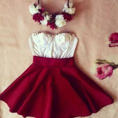 Hat: flower headband floral dress tank top bustier clothes skirts studded skirt red girly cute nice