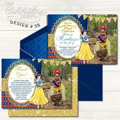 Do you have a big Snow White fan at home that's excited to have a Princess birthday party? Then look no further than this whimsically vibrant and playful invitation to help make their dreams come true! From bright reds and golds to pixie stars and the complimentary backside, this adorable Princess Snow White birthday invitation is sure to please your little princess and kick off the party in style! Snow White Invitations, Digital Invitations, Printable Invitations, Princess Birthday Invitations, Snow White Birthday, Solid Color Backgrounds, Colored Envelopes, Your Cards, Pixie