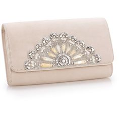 Blush Opera Clutch ❤ liked on Polyvore featuring bags, handbags, clutches, pink handbags, embellished handbags, pink clutches, suede handbags and suede purse