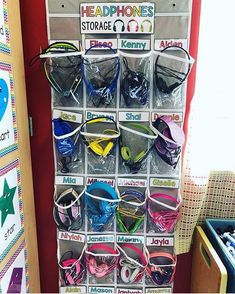 Headphone storage made cute and easy! We love that you can hang this over a doo. Headphone storage made cute and easy! We love that you can hang this over a door. You can find thi Classroom Setting, Classroom Setup, Future Classroom, School Classroom, Classroom Organization, Classroom Management, Kindergarten Classroom Door, Organization Hacks, Teacher Storage