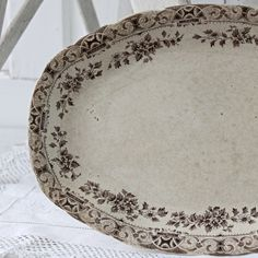 brown transferware platter by UrbanFarmgirlAndCo on Etsy,  19.00