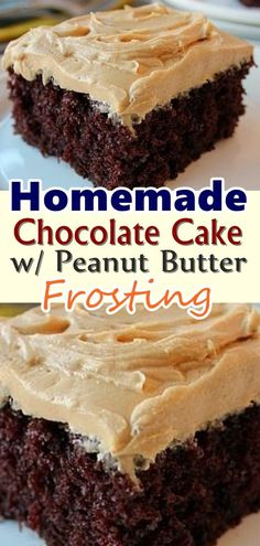 Homemade Chocolate Cake w/ Peanut Butter Frosting – Skinny Recipes Easy Desserts, Delicious Desserts, Dessert Recipes, Snacks Recipes, Waffle Recipes, Homemade Desserts, Burger Recipes, Candy Recipes, Quick Recipes