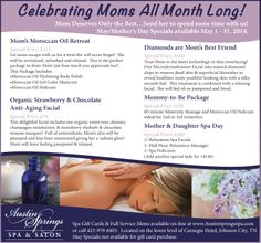 We are celebrating mom all month long, so come in and see us! Spa Specials, Moms Best Friend, Promotion Ideas, Spring Spa, Mothers Day Special, Moroccan Oil, Promotional Events, Beauty Spa, Celebrities