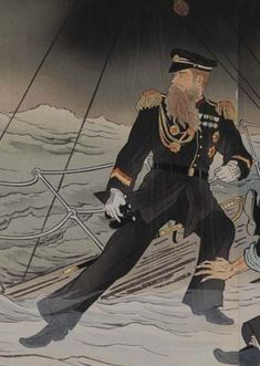 Russian Admiral Makaroff on the sinking battleship Petropavlovsk, April 1904.   Commander Hirose on the Fukuimaru (April 1904).  Only four days after Hirose's death, Admiral Makaroff was killed on the Petropavlovsk when it was hit by a mine and sunk.