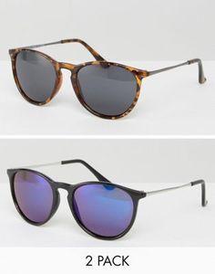 Pack de 2 gafas de sol finas y redondas de estilo retro Flash en negro y azul y de carey de ASOS 16,99 €