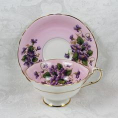 Vintage 1950s Pink and Purple Floral Paragon Bone by scdvintage, $60.00