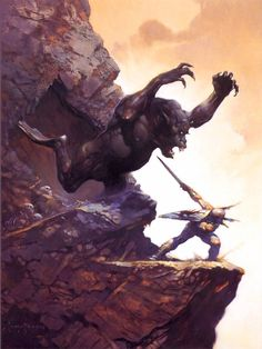 Old School FRP : Frank Frazetta, 1978 Frazetta often pitted his heroes against seemingly unbeatable foes, enormous in size or overwhelming in numbers. This is the moment it all comes down to one roll of the dice.