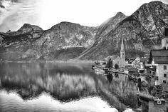 Landscape overlooking the lake in the Gosau Region Hallstatt Austria in Winter. Hallstatt, Small Towns, Mount Rainier, Black And White Photography, Austria, Winter, Travel Photography, Places To Visit, The Incredibles
