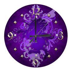 Purple Unicorn Fantasy Clock