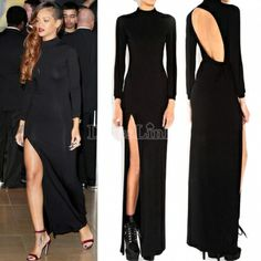 Party Turtleneck Open Back Evening Gown Cocktail Tunic Maxi Long Dress
