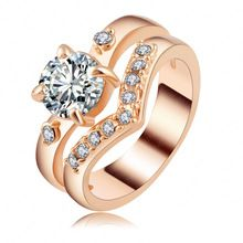 Newest Jewelry Rings Real 18K Gold/Rose Gold Plated Pave Austria Crystal Female Ring Gift Free Shipping Ri-HQ1136(China (Mainland))