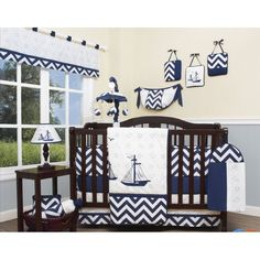 This Explorer Nautical 13 Piece Crib Bedding Set with all the bundle you will need. This set is made to fit all standard cribs and toddler beds.