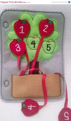 felt counting apple tree quiet book page children practice counting numbers. For the fabric learning book.