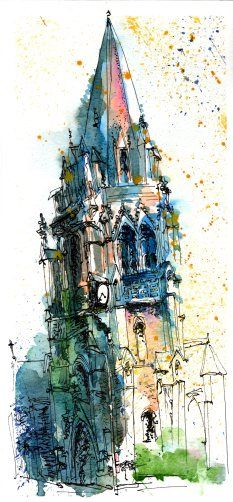 Urban Sketch by Sanjukta Sen of Regent Streer Church - love the way he uses watercolor