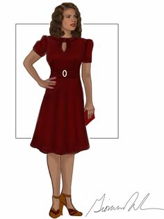 Sketch of Peggy's wine-colored dress from the season finale.