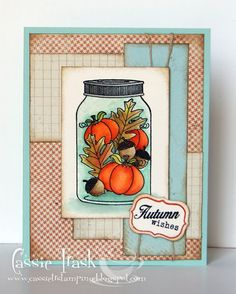Fall Jar Fillers by CassieT - Cards and Paper Crafts at Splitcoaststampers Jar Fillers, Fall Cards, Fall Diy, Halloween Cards, Card Ideas, Friendship, Quart Jar, Card Making, Paper Crafts