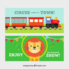 Circus banners with a train and a nice lion Free Vector