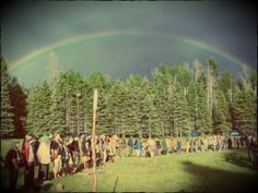 Rainbow Gathering - circle on the 4th - silence and praying for peace