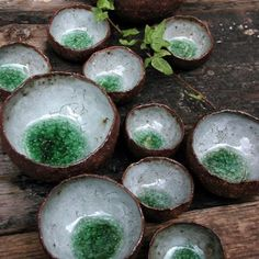 Akiko Hirai  Apply glaze and then  add glass or a marble to the bottom of the bowl.  Fire according to the glaze specs.   # Pin++ for Pinterest #