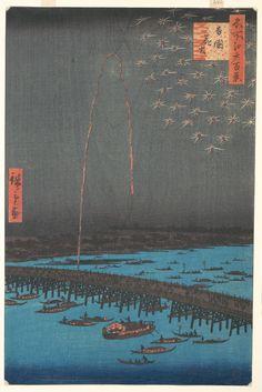 Fuegos artificiales en el puente de Ryōgoku.  Artista: Utagawa Hiroshige (1797-1858 Tokio (Edo) Tokio (Edo), en japonés) Período Edo (1615-1868) Fecha: 1858