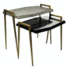 Lyon Side Tables Contemporary, Transitional, Lacquer, Metal, Natural Material, Side Table by Carlyle Collective