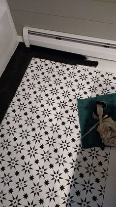 Learn how to stencil an old ceramic tile bathroom floor on a budget using the DIY Jewel Tile Stencil from Cutting Edge Stencils Ceramic Tile Floor Bathroom, Bathroom Flooring, Bathroom Furniture, Ceramic Flooring, Bathroom Wall, Bathroom Ideas, Garage Flooring, Kitchen Floors, Cement Tiles