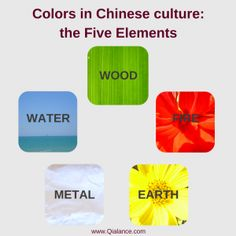 Colors in Chinese culture and the Five elements: Wood/green, Fire/red, Earth/yellow, Metal/white, Water/blue